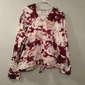 Pink and red tie dye hoodie